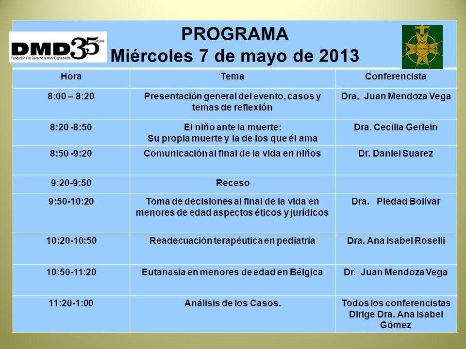 PROGRAMA Miércoles 7 de mayo de 2013 HoraTemaConferencista 8:00 – 8:20Presentación general del evento, casos y temas de reflexión Dra.