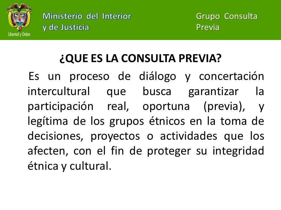 ¿QUE ES LA CONSULTA PREVIA? Es un proceso de diálogo y concertación intercultural que busca garantizar la participación real, oportuna (previa), y leg