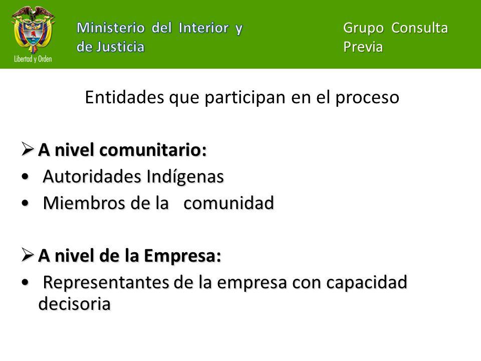 Entidades que participan en el proceso A nivel institucional: A nivel institucional: Ministerio del Interior y de Justicia: coordinación interinstitucional del proceso de Consulta con las comunidades.
