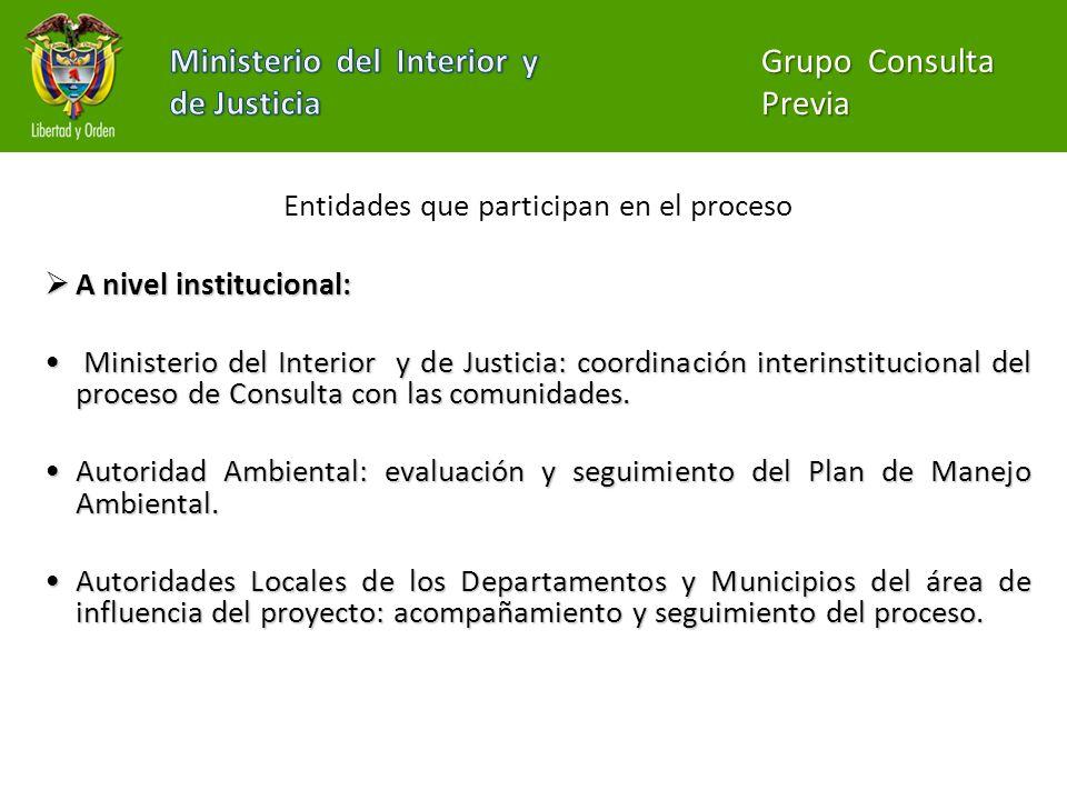 Entidades que participan en el proceso A nivel institucional: A nivel institucional: Ministerio del Interior y de Justicia: coordinación interinstituc