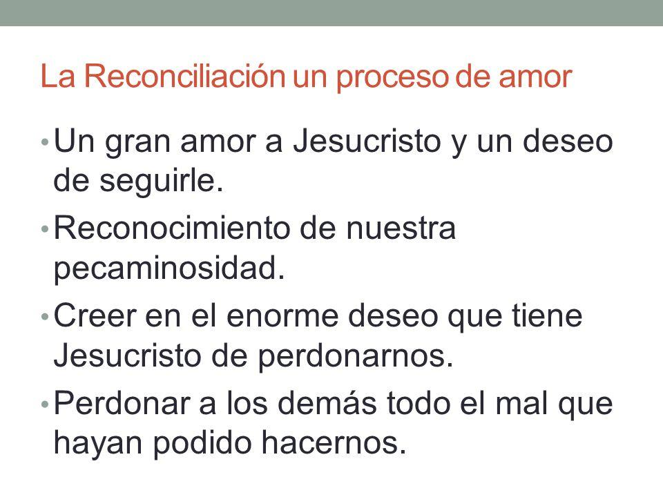 La Reconciliación un proceso de amor Un gran amor a Jesucristo y un deseo de seguirle. Reconocimiento de nuestra pecaminosidad. Creer en el enorme des