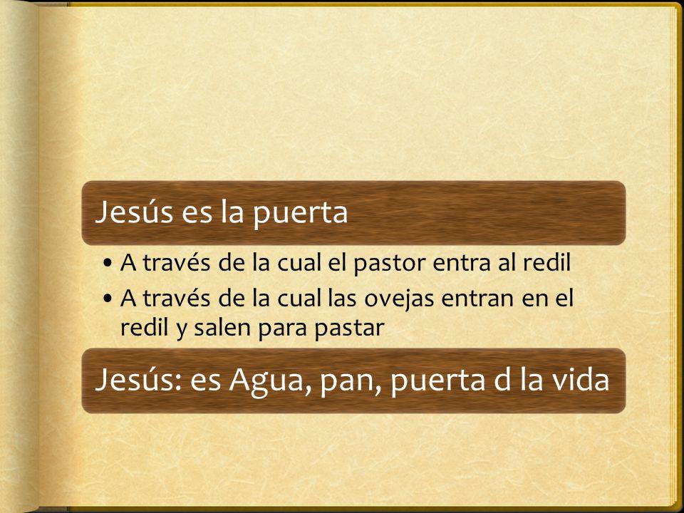 Jesús es la puerta A través de la cual el pastor entra al redil A través de la cual las ovejas entran en el redil y salen para pastar Jesús: es Agua, pan, puerta d la vida