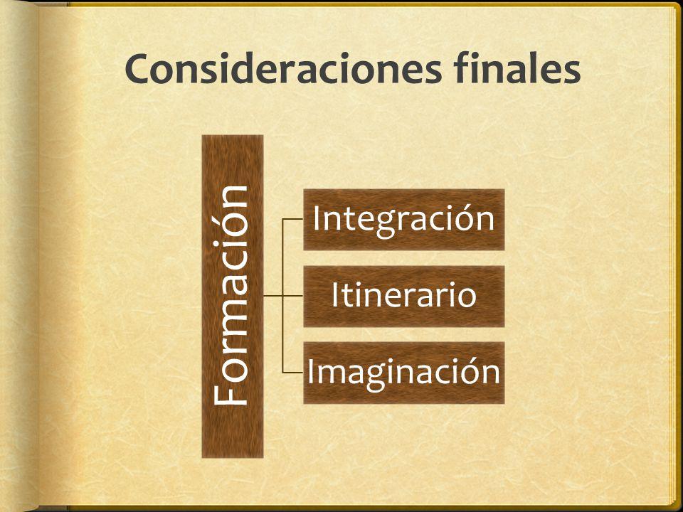 Consideraciones finales Formación Integración Itinerario Imaginación