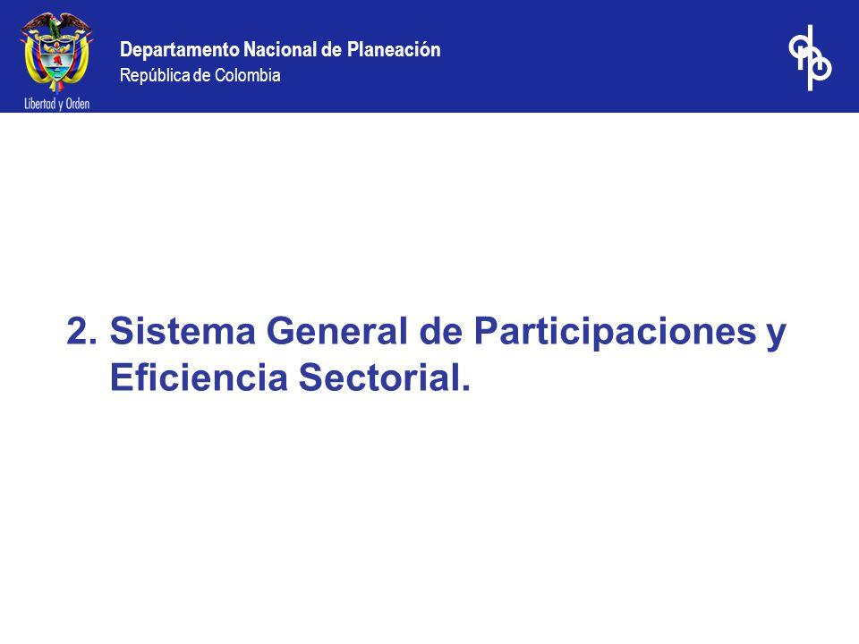 Departamento Nacional de Planeación República de Colombia 2.Sistema General de Participaciones y Eficiencia Sectorial.