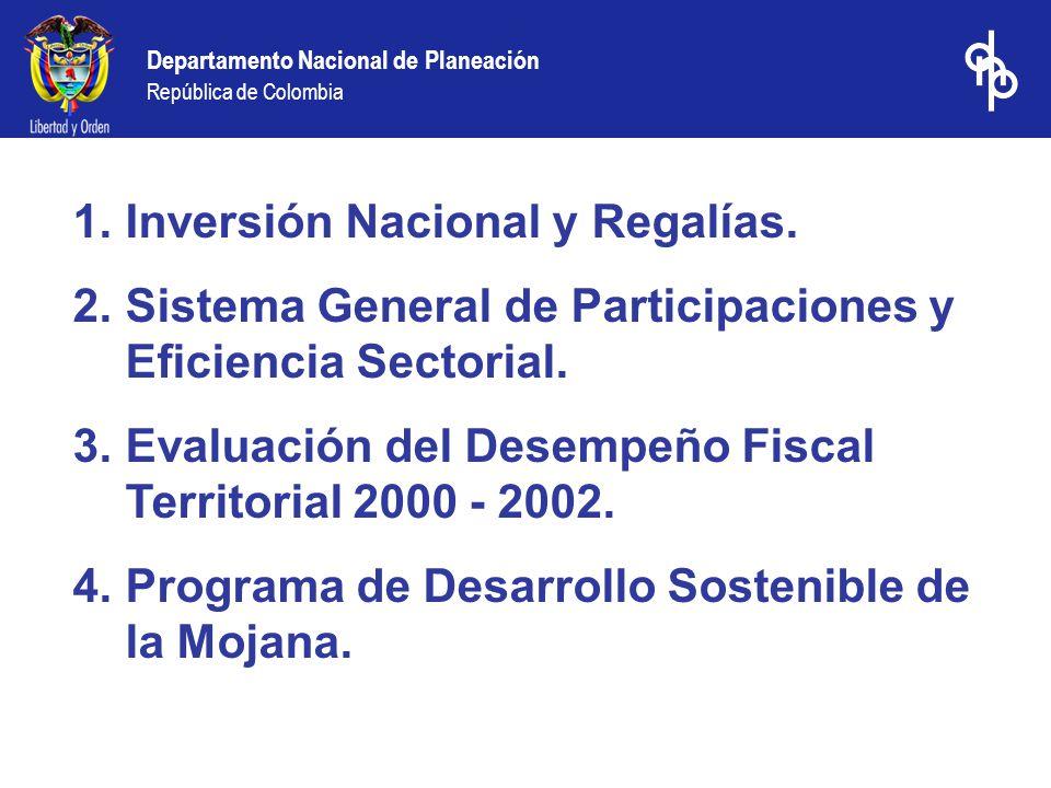 Departamento Nacional de Planeación República de Colombia 1.Inversión Nacional y Regalías. 2.Sistema General de Participaciones y Eficiencia Sectorial