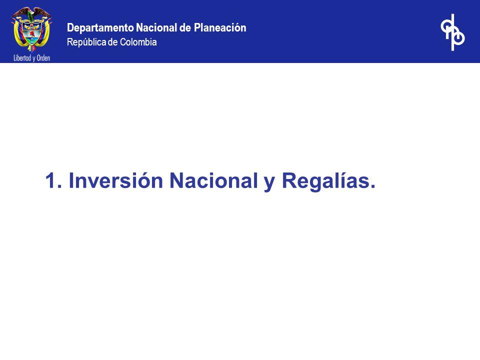 Departamento Nacional de Planeación República de Colombia 1.Inversión Nacional y Regalías.