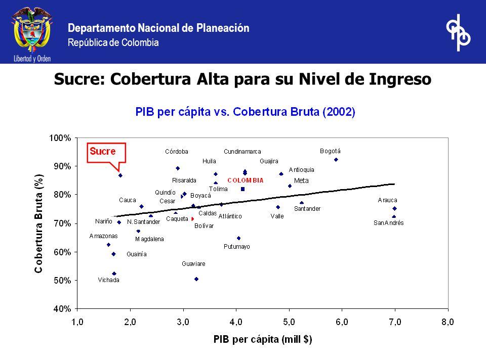 Departamento Nacional de Planeación República de Colombia Sucre: Cobertura Alta para su Nivel de Ingreso