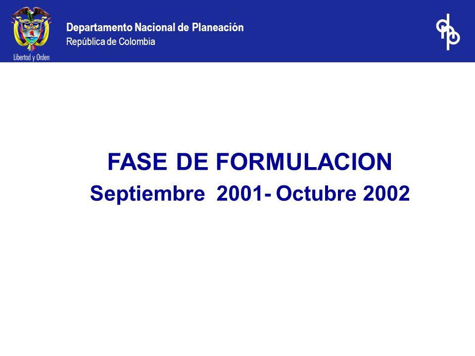 FASE DE FORMULACION Septiembre 2001- Octubre 2002