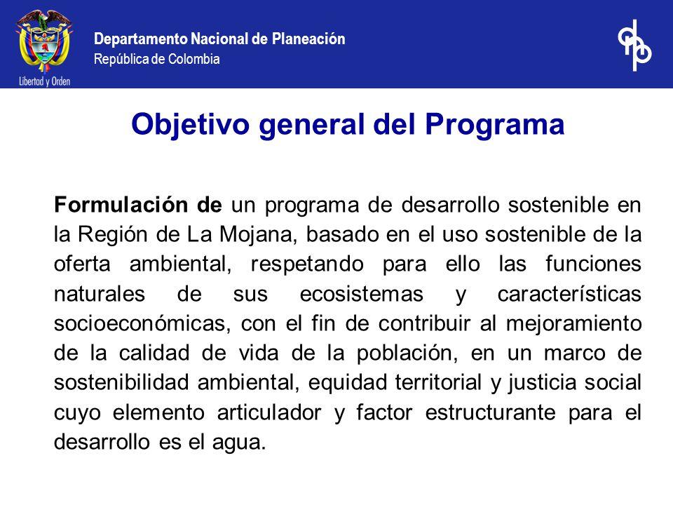 Departamento Nacional de Planeación República de Colombia Objetivo general del Programa Formulación de un programa de desarrollo sostenible en la Regi