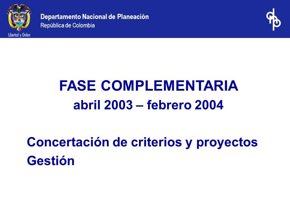 FASE COMPLEMENTARIA abril 2003 – febrero 2004 Concertación de criterios y proyectos Gestión