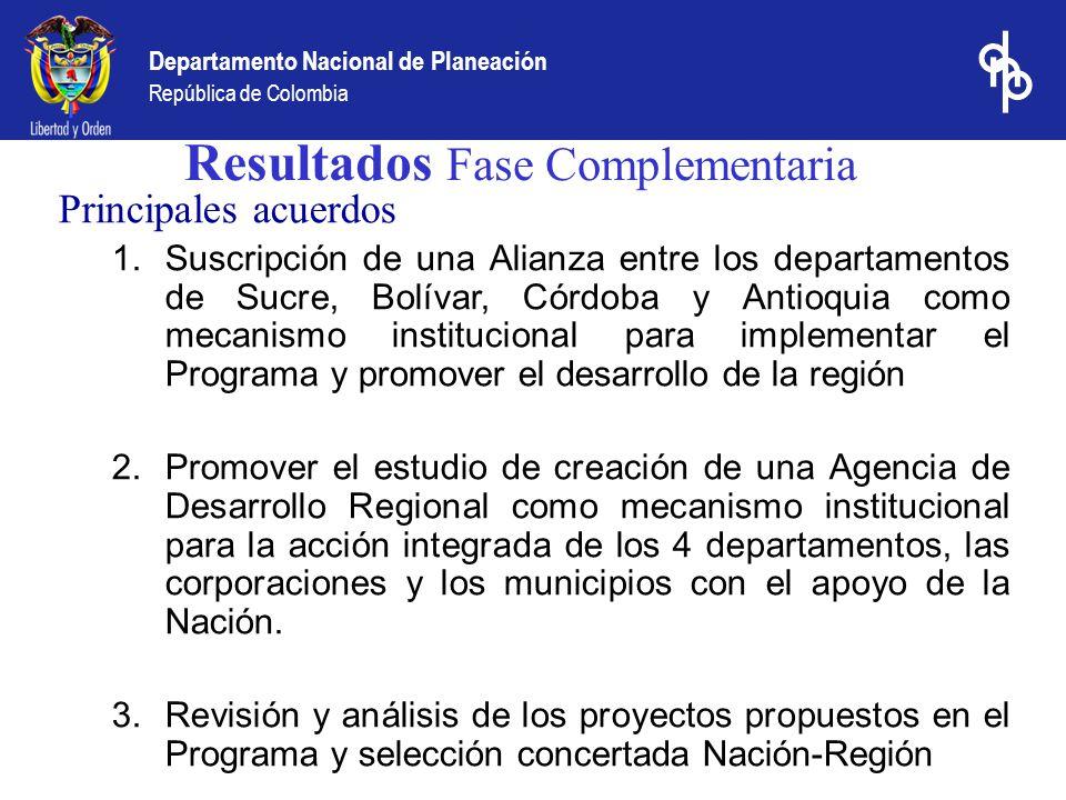 Departamento Nacional de Planeación República de Colombia Resultados Fase Complementaria Principales acuerdos 1.Suscripción de una Alianza entre los d