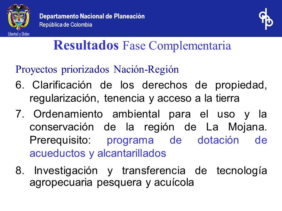 Departamento Nacional de Planeación República de Colombia Resultados Fase Complementaria Proyectos priorizados Nación-Región 6. Clarificación de los d