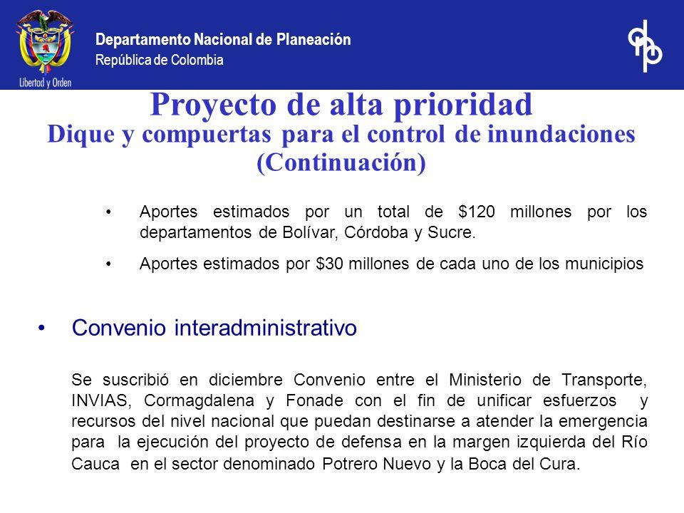 Departamento Nacional de Planeación República de Colombia Proyecto de alta prioridad Dique y compuertas para el control de inundaciones (Continuación)
