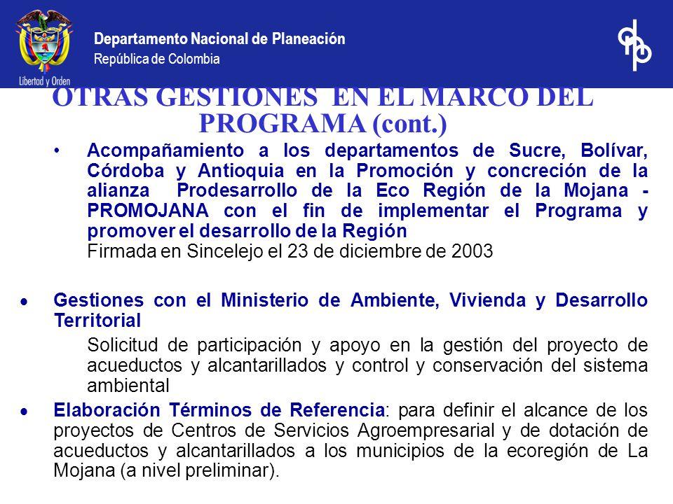 Departamento Nacional de Planeación República de Colombia Acompañamiento a los departamentos de Sucre, Bolívar, Córdoba y Antioquia en la Promoción y