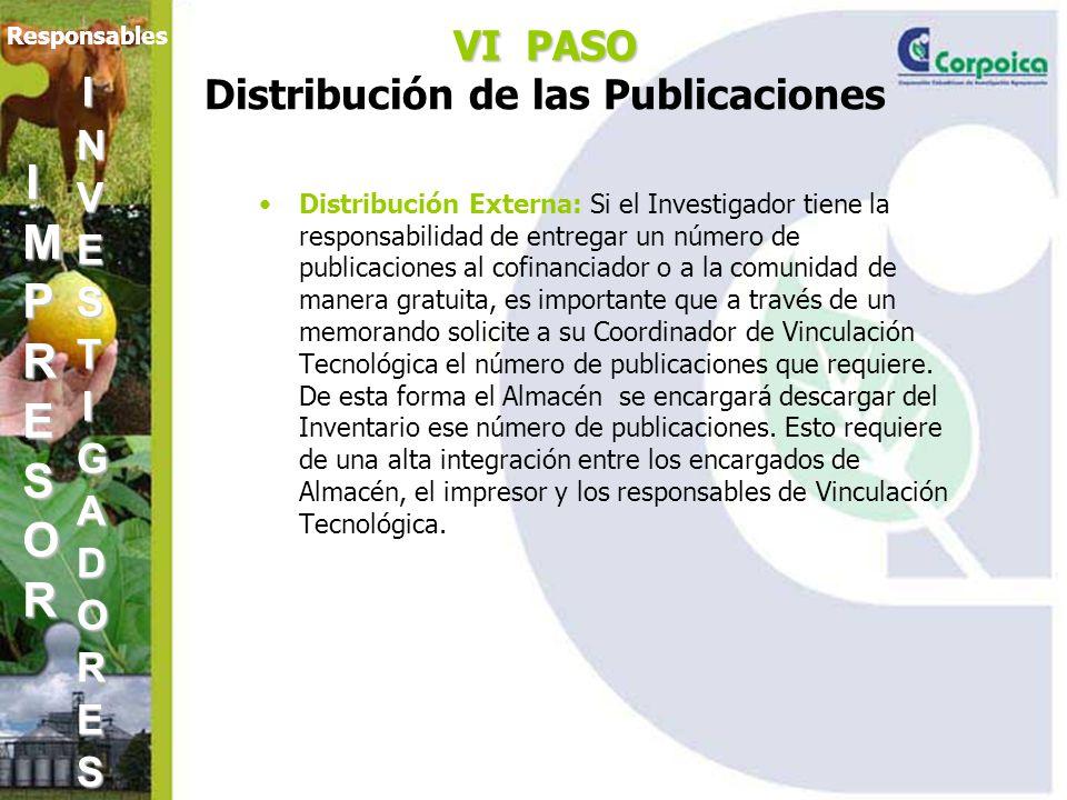 VI PASO VI PASO Distribución de las Publicaciones Distribución Externa: Si el Investigador tiene la responsabilidad de entregar un número de publicaciones al cofinanciador o a la comunidad de manera gratuita, es importante que a través de un memorando solicite a su Coordinador de Vinculación Tecnológica el número de publicaciones que requiere.