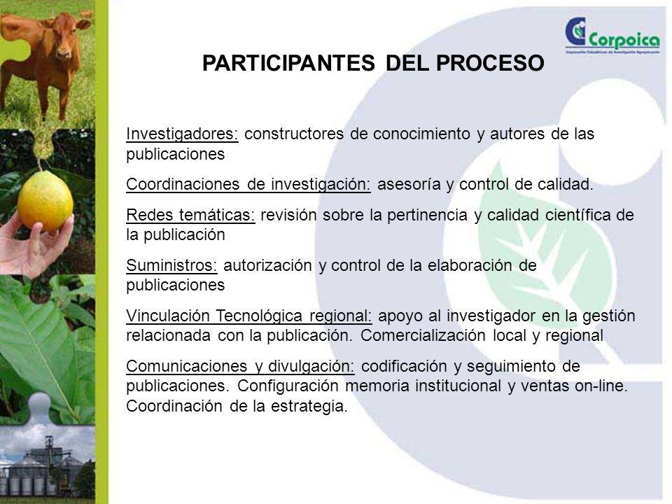 PARTICIPANTES DEL PROCESO Investigadores: constructores de conocimiento y autores de las publicaciones Coordinaciones de investigación: asesoría y control de calidad.