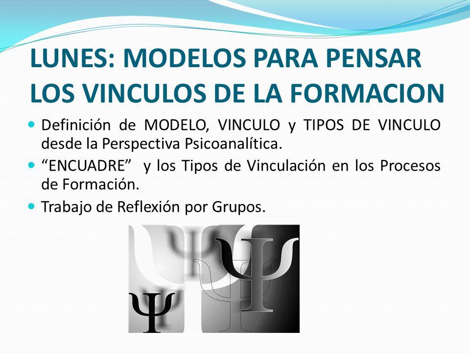 LUNES: MODELOS PARA PENSAR LOS VINCULOS DE LA FORMACION Definición de MODELO, VINCULO y TIPOS DE VINCULO desde la Perspectiva Psicoanalítica. ENCUADRE