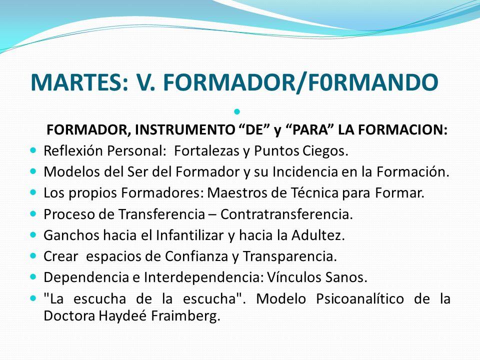 MARTES: V. FORMADOR/F0RMANDO FORMADOR, INSTRUMENTO DE y PARA LA FORMACION: Reflexión Personal: Fortalezas y Puntos Ciegos. Modelos del Ser del Formado