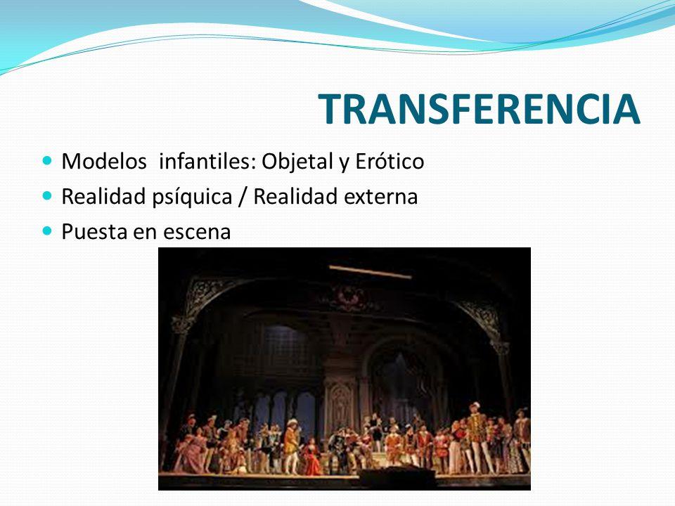 TRANSFERENCIA Modelos infantiles: Objetal y Erótico Realidad psíquica / Realidad externa Puesta en escena