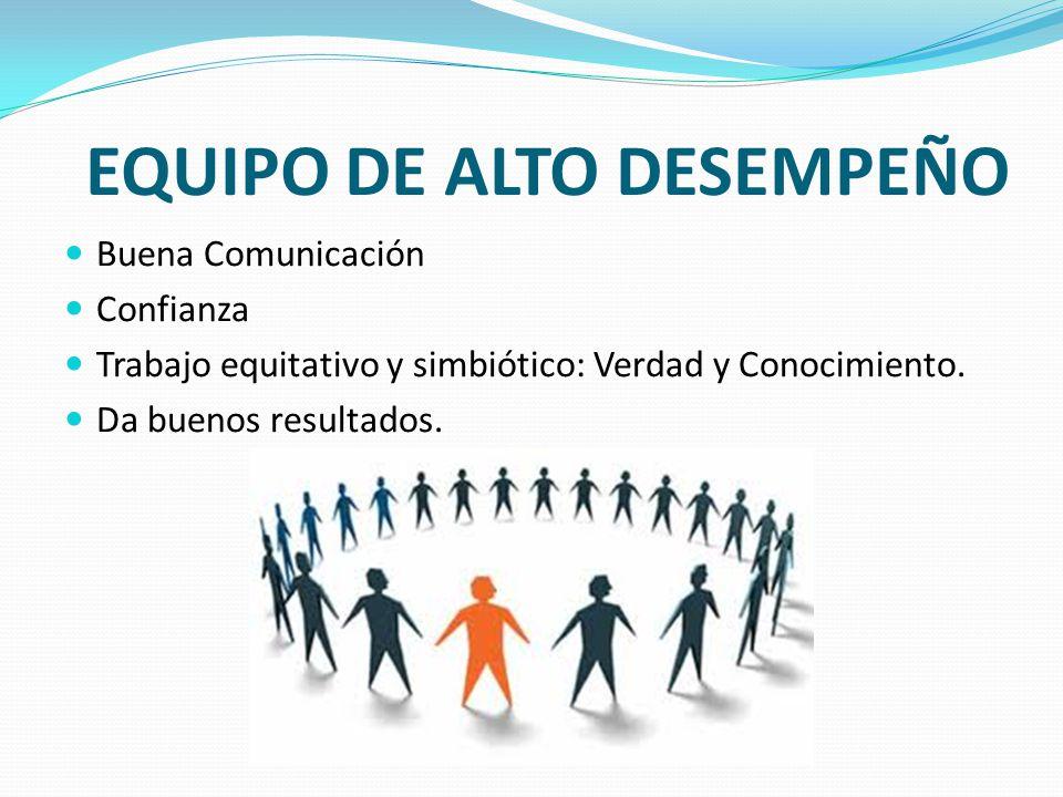 EQUIPO DE ALTO DESEMPEÑO Buena Comunicación Confianza Trabajo equitativo y simbiótico: Verdad y Conocimiento. Da buenos resultados.