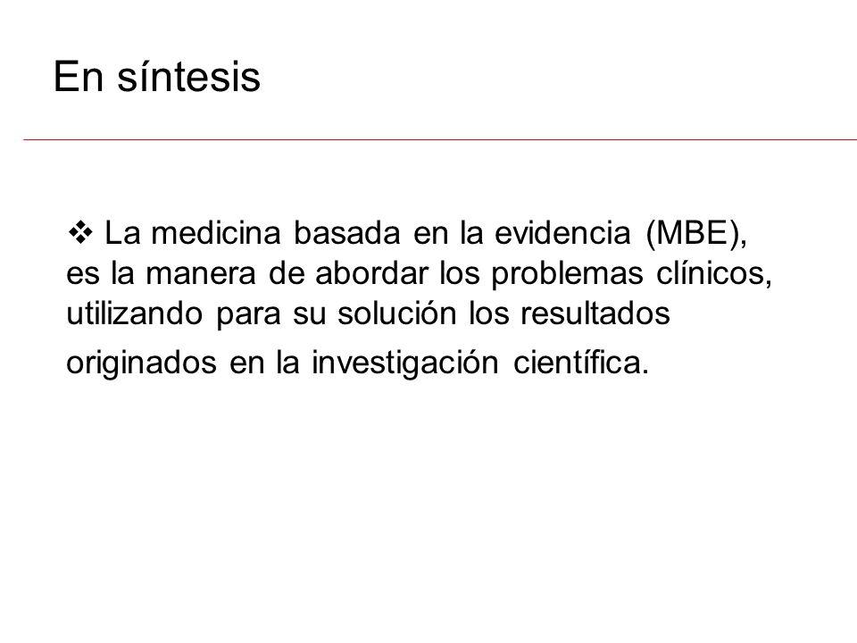 Definiciones II MBE, es la Integración de la mejor evidencia obtenida de la investigación, con la experiencia clínica y los valores personales del pac