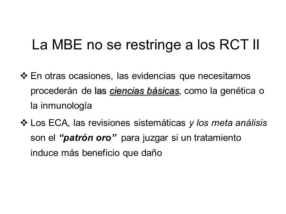 La MBE no se restringe a los ensayos clínicos randomizados (RCT) I Practicar MBE consiste en localizar las mejores evidencias externas con las que res