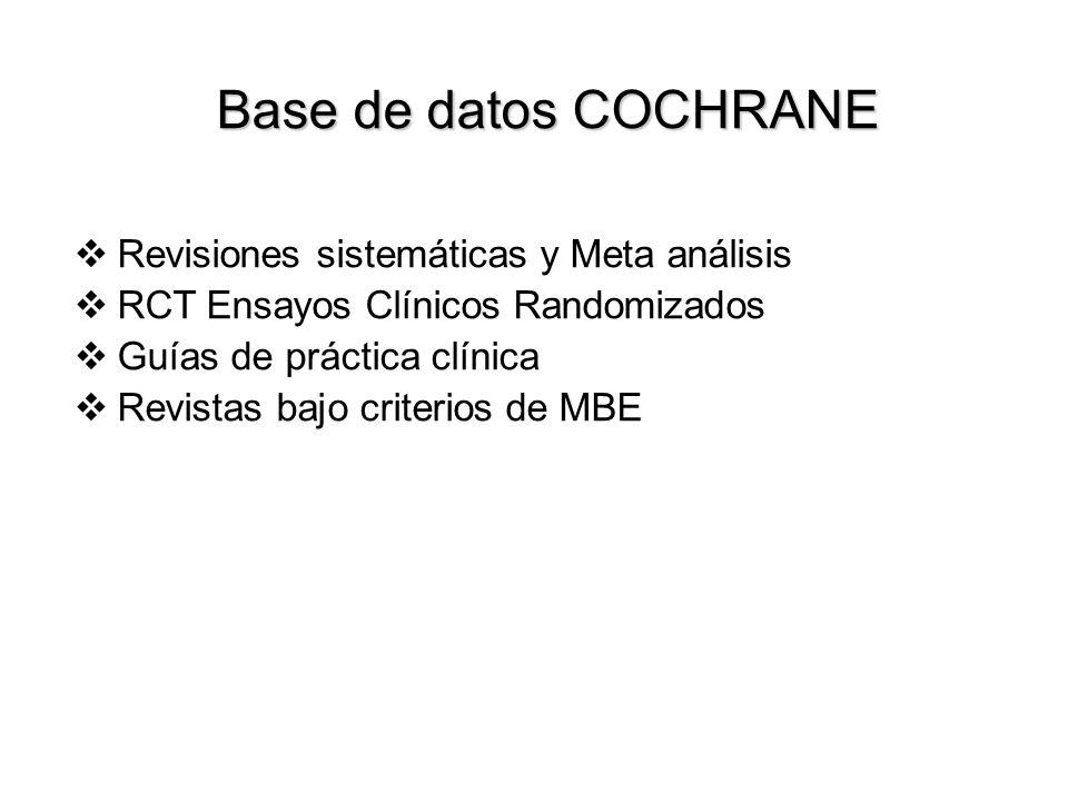 Búsqueda de la información IV Para revisiones sistemáticas: Cochrane Library o 3 meses o CD-ROM/Internet o Incluye RCT, Revisiones, Meta análisis, Pro