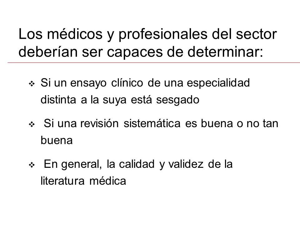 Si un ensayo clínico de una especialidad distinta a la suya está sesgado Si una revisión sistemática es buena o no tan buena En general, la calidad y validez de la literatura médica Los médicos y profesionales del sector deberían ser capaces de determinar: