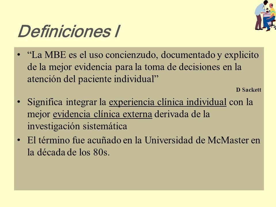 Antecedentes II La MBE surge ligada a: La introducción de la estadística y el método epidemiológico en la práctica clínica El desarrollo de herramient