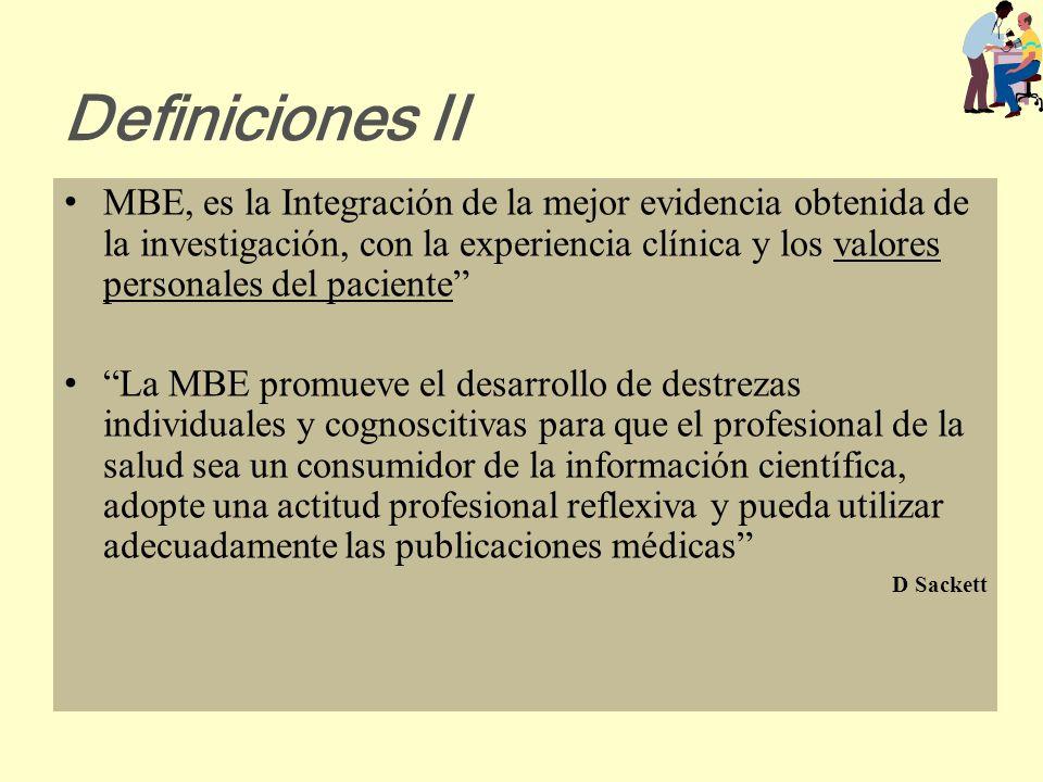 Definiciones I La MBE es el uso concienzudo, documentado y explicito de la mejor evidencia para la toma de decisiones en la atención del paciente indi