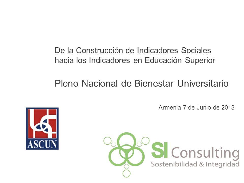 De la Construcción de Indicadores Sociales hacia los Indicadores en Educación Superior Pleno Nacional de Bienestar Universitario Armenia 7 de Junio de