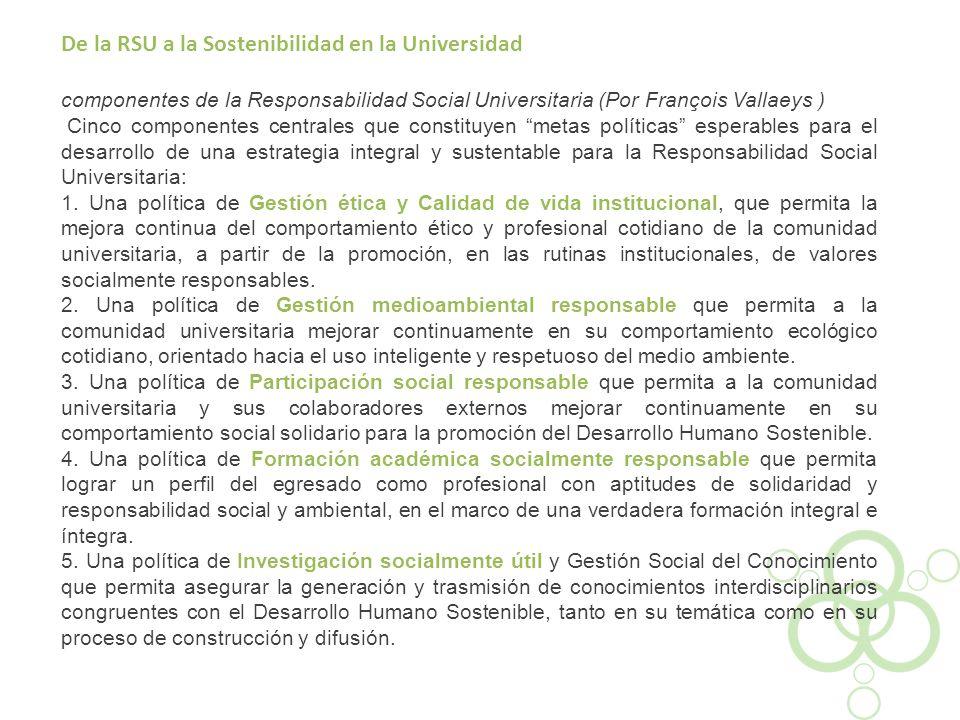 De la RSU a la Sostenibilidad en la Universidad componentes de la Responsabilidad Social Universitaria (Por François Vallaeys ) Cinco componentes cent