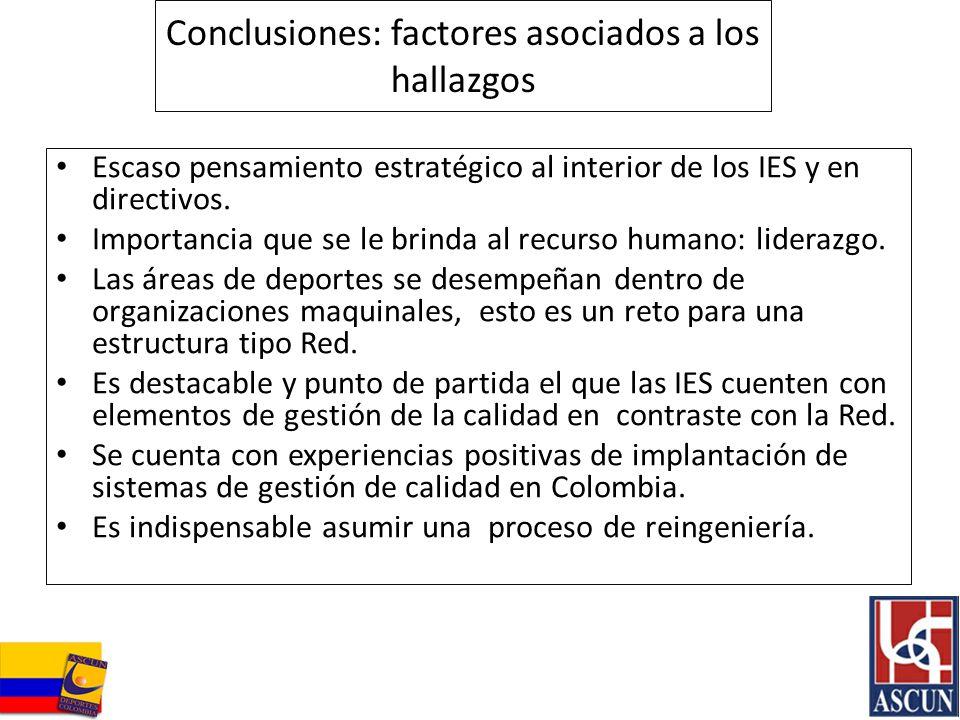 Conclusiones: factores asociados a los hallazgos Escaso pensamiento estratégico al interior de los IES y en directivos. Importancia que se le brinda a