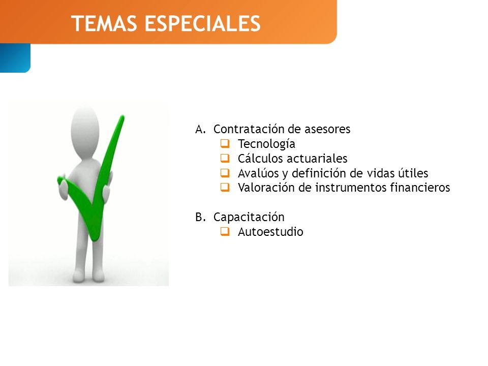 TEMAS ESPECIALES A.Contratación de asesores Tecnología Cálculos actuariales Avalúos y definición de vidas útiles Valoración de instrumentos financieros B.Capacitación Autoestudio