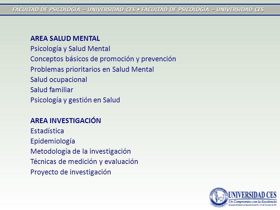 FACULTAD DE PSICOLOGÍA – UNIVERSIDAD CES FACULTAD DE PSICOLOGÍA – UNIVERSIDAD CES AREA SALUD MENTAL Psicología y Salud Mental Conceptos básicos de pro