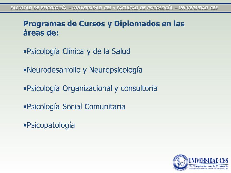 FACULTAD DE PSICOLOGÍA – UNIVERSIDAD CES FACULTAD DE PSICOLOGÍA – UNIVERSIDAD CES Programas de Cursos y Diplomados en las áreas de: Psicología Clínica y de la Salud Neurodesarrollo y Neuropsicología Psicología Organizacional y consultoría Psicología Social Comunitaria Psicopatología
