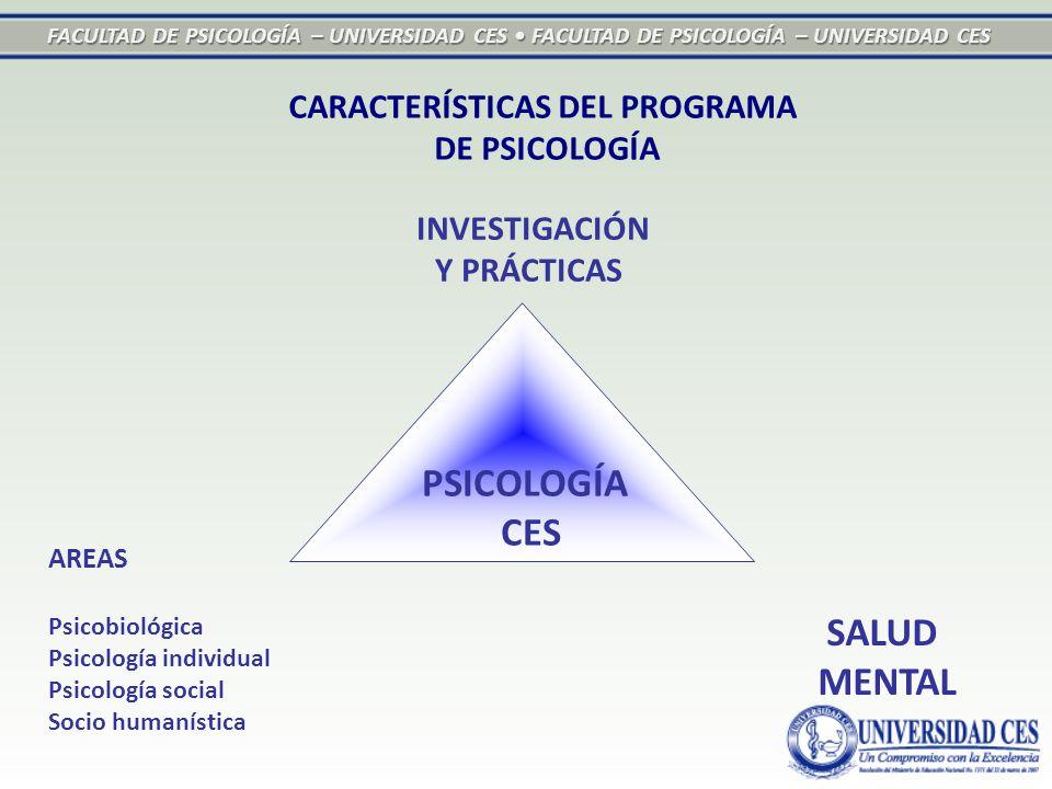 FACULTAD DE PSICOLOGÍA – UNIVERSIDAD CES FACULTAD DE PSICOLOGÍA – UNIVERSIDAD CES CARACTERÍSTICAS DEL PROGRAMA DE PSICOLOGÍA SALUD MENTAL AREAS Psicobiológica Psicología individual Psicología social Socio humanística INVESTIGACIÓN Y PRÁCTICAS PSICOLOGÍA CES