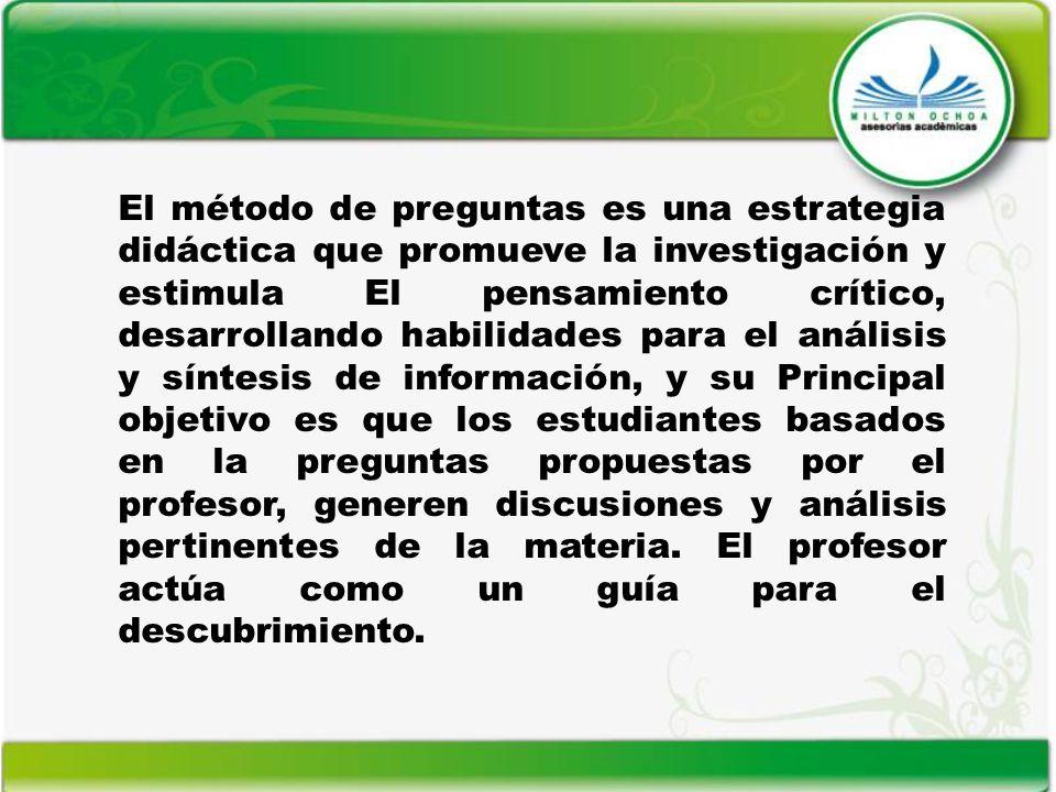El método de preguntas es una estrategia didáctica que promueve la investigación y estimula El pensamiento crítico, desarrollando habilidades para el