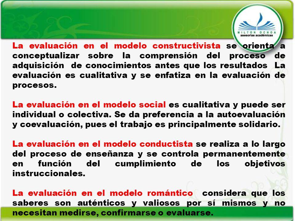 La evaluación en el modelo constructivista se orienta a conceptualizar sobre la comprensión del proceso de adquisición de conocimientos antes que los