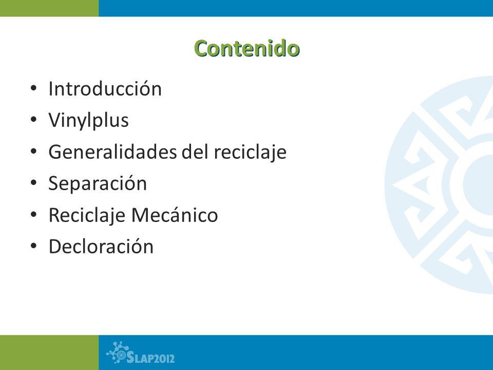 Contenido Introducción Vinylplus Generalidades del reciclaje Separación Reciclaje Mecánico Decloración de PVC