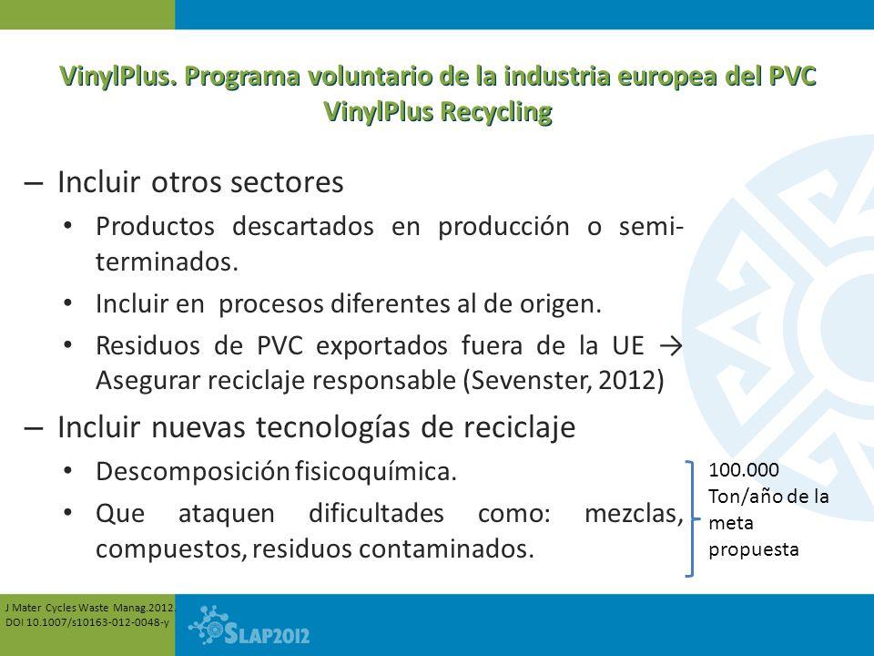 VinylPlus. Programa voluntario de la industria europea del PVC VinylPlus Recycling – Incluir otros sectores Productos descartados en producción o semi