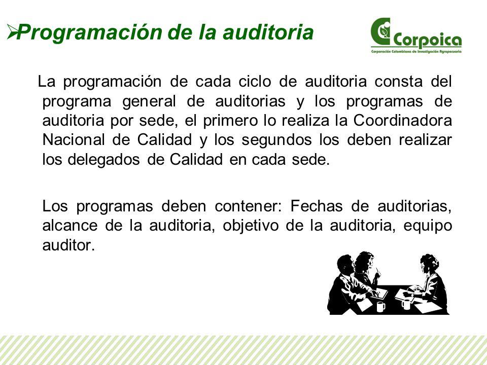 Programación de la auditoria La programación de cada ciclo de auditoria consta del programa general de auditorias y los programas de auditoria por sed