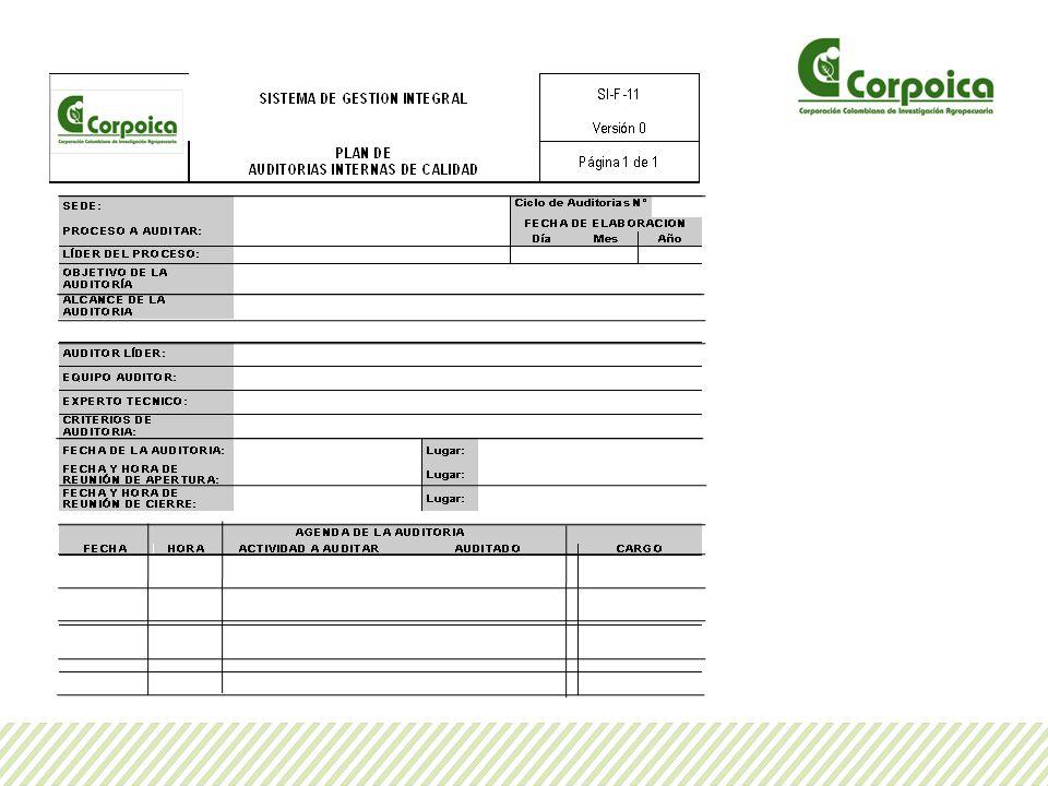 Planificación de la auditoria La planificación de la Auditoria, también incluye la revisión de los documentos del proceso a auditar por parte de los auditores y preparación de listas de chequeo con base en estos documentos y en otros requisitos que apliquen al proceso, los ítems de la lista de chequeo se toman como guía para ejecutar la auditoria y se enuncian en el siguiente formato:
