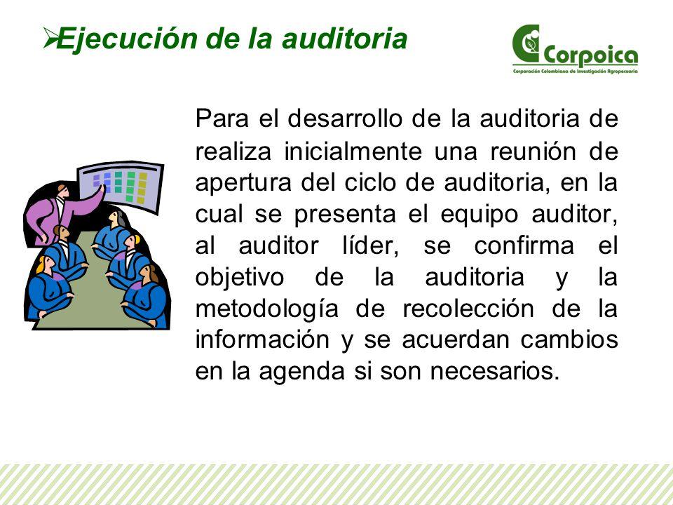 Ejecución de la auditoria Para el desarrollo de la auditoria de realiza inicialmente una reunión de apertura del ciclo de auditoria, en la cual se pre