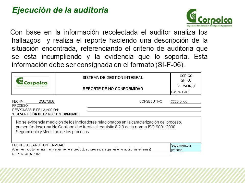 Con base en la información recolectada el auditor analiza los hallazgos y realiza el reporte haciendo una descripción de la situación encontrada, refe