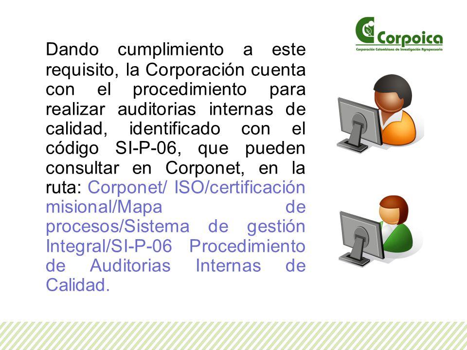 Dando cumplimiento a este requisito, la Corporación cuenta con el procedimiento para realizar auditorias internas de calidad, identificado con el códi
