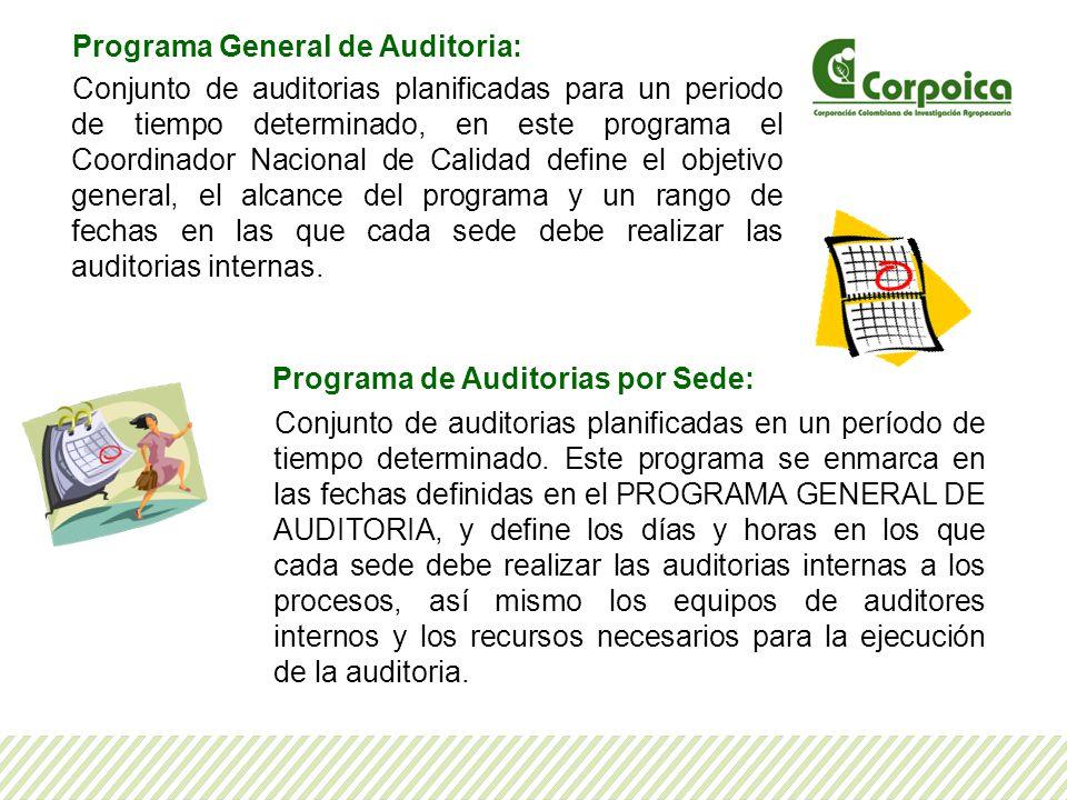Programa General de Auditoria: Conjunto de auditorias planificadas para un periodo de tiempo determinado, en este programa el Coordinador Nacional de