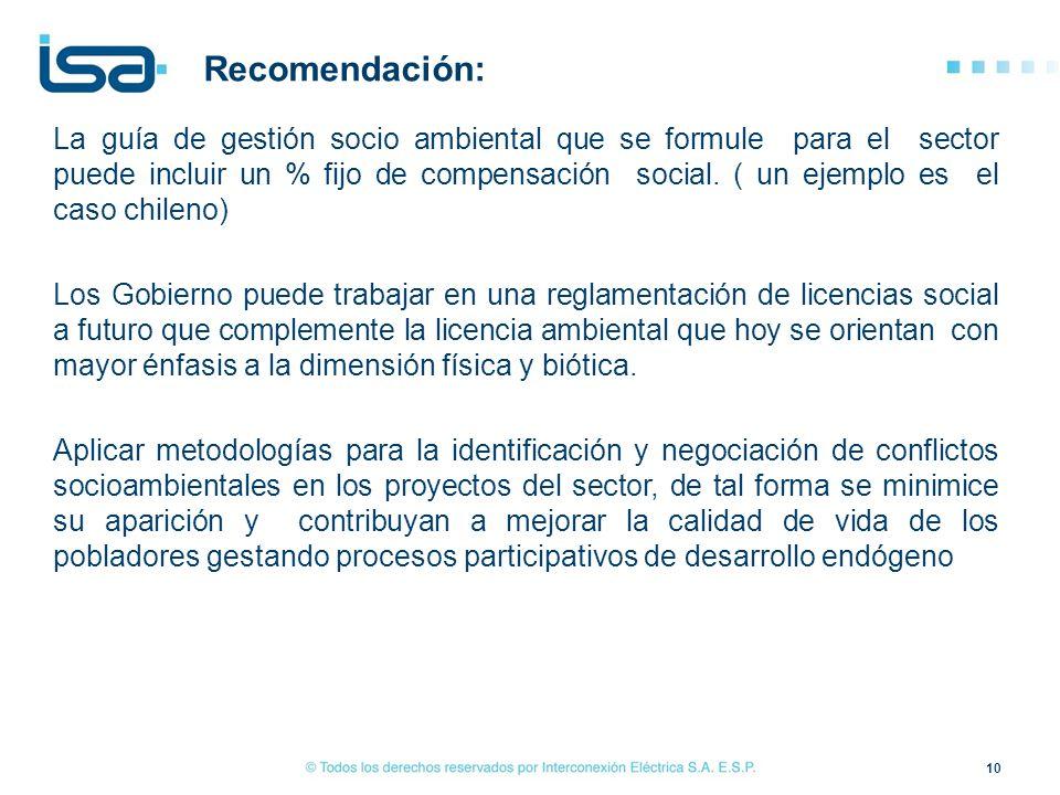 La guía de gestión socio ambiental que se formule para el sector puede incluir un % fijo de compensación social. ( un ejemplo es el caso chileno) Los