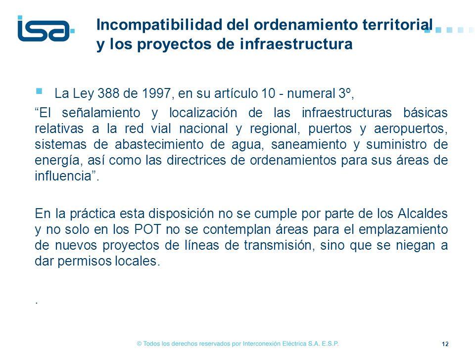 La Ley 388 de 1997, en su artículo 10 - numeral 3º, El señalamiento y localización de las infraestructuras básicas relativas a la red vial nacional y