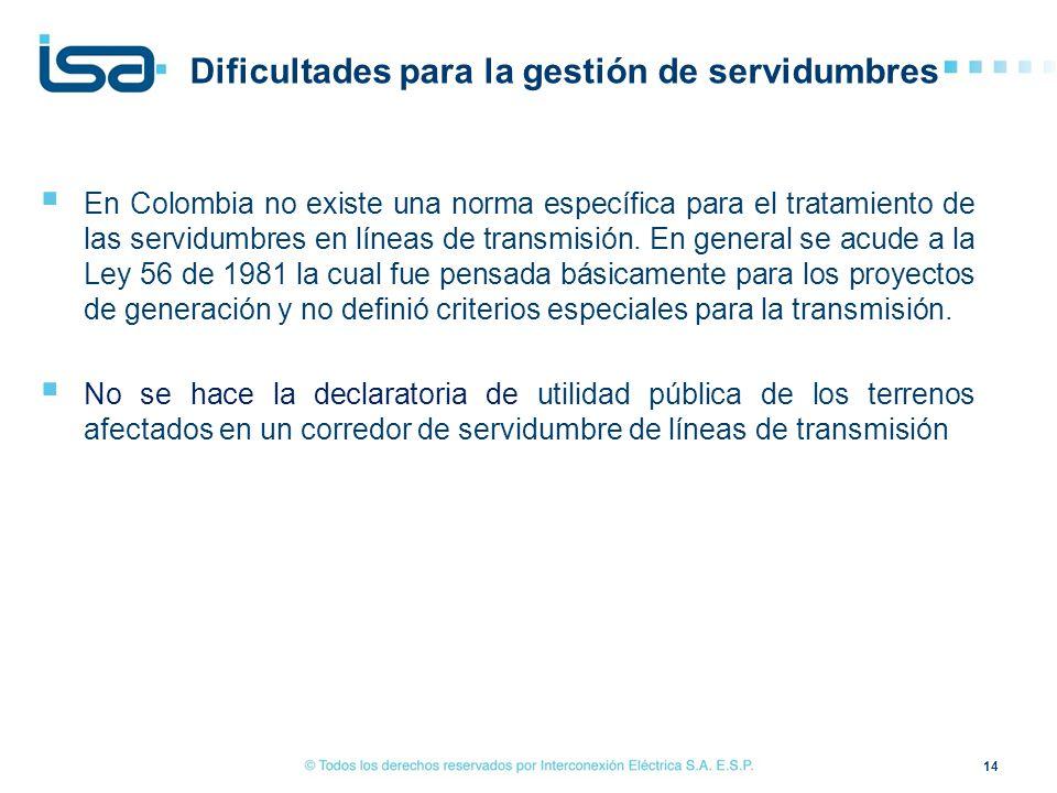 En Colombia no existe una norma específica para el tratamiento de las servidumbres en líneas de transmisión. En general se acude a la Ley 56 de 1981 l